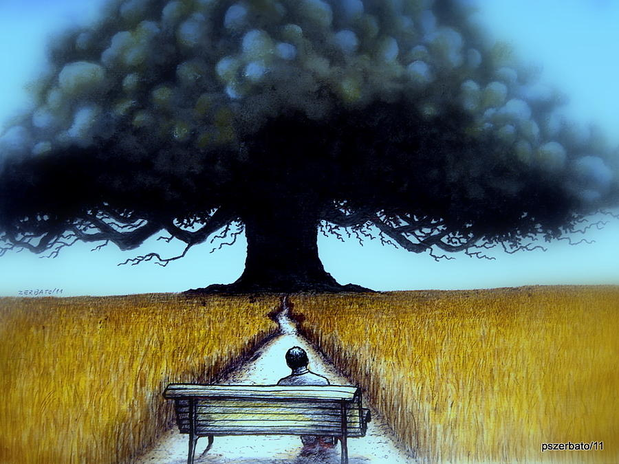 Landscape Digital Art - I Looked At The Abandoned Tree And I Not Saw Nests Neither Birds by Paulo Zerbato