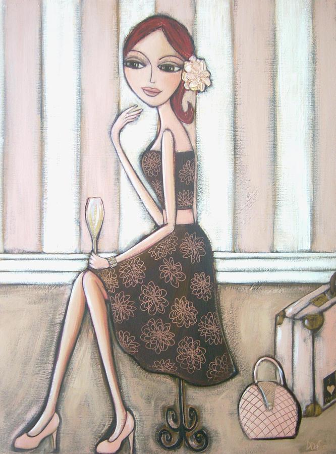 Red Hair Painting - I Love Paris by Denise Daffara