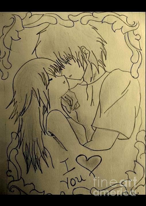 Love. Drawing - I LOve You. by Deepak Kodapally