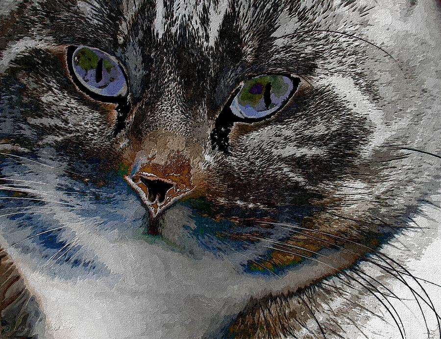 Cat Painting - I See by Lynda K Cole-Smith