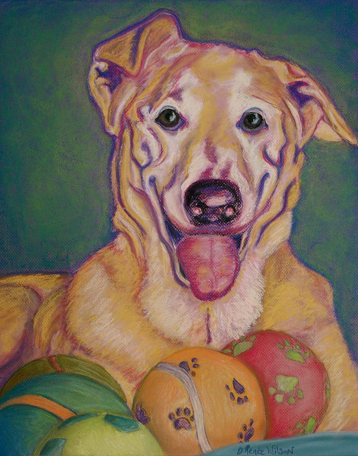 Yellow Lab Pastel - I Share by D Renee Wilson