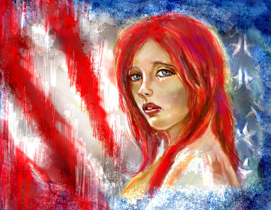 American Flag Mixed Media - I Sing Of Thee by Lakota Phillips