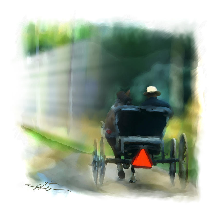 Carriage Painting - I Travel The Gravel  by Bob Salo