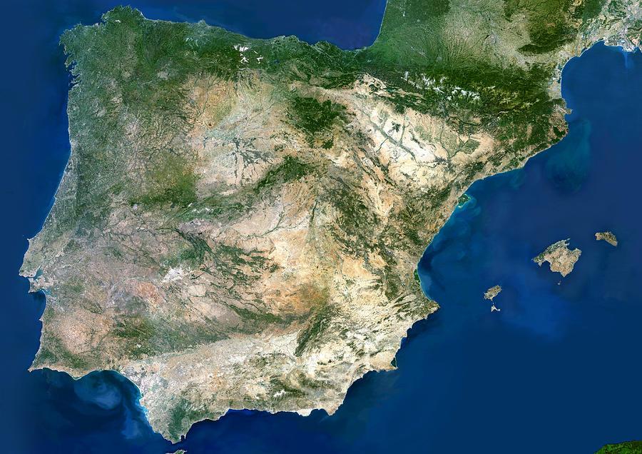 Iberian Peninsula Photograph - Iberian Peninsula, Satellite Image by Planetobserver