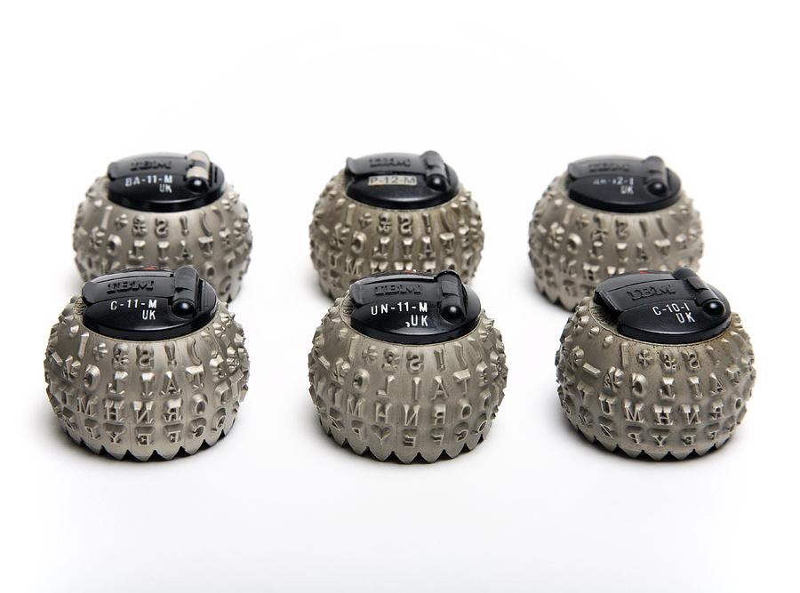 Ibm Electronic Composer Photograph - Ibm Selectric Typeballs, 1970s by Victor De Schwanberg