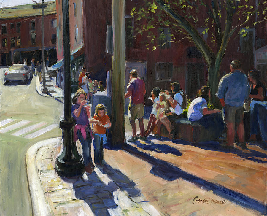 Cityscape Painting - Ice Cream Corner Portsmouth Nh by Gordon France