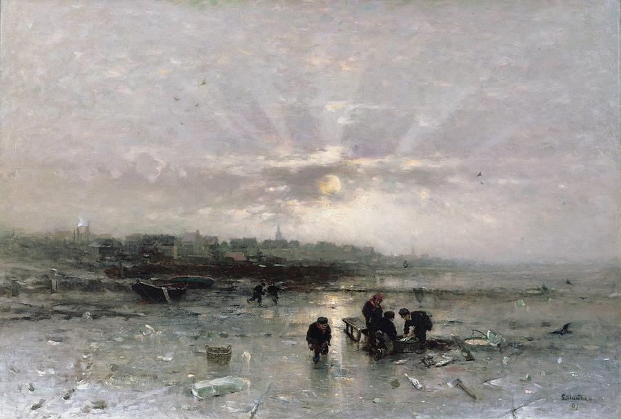 Winter Painting - Ice Fishing by Ludwig Munthe