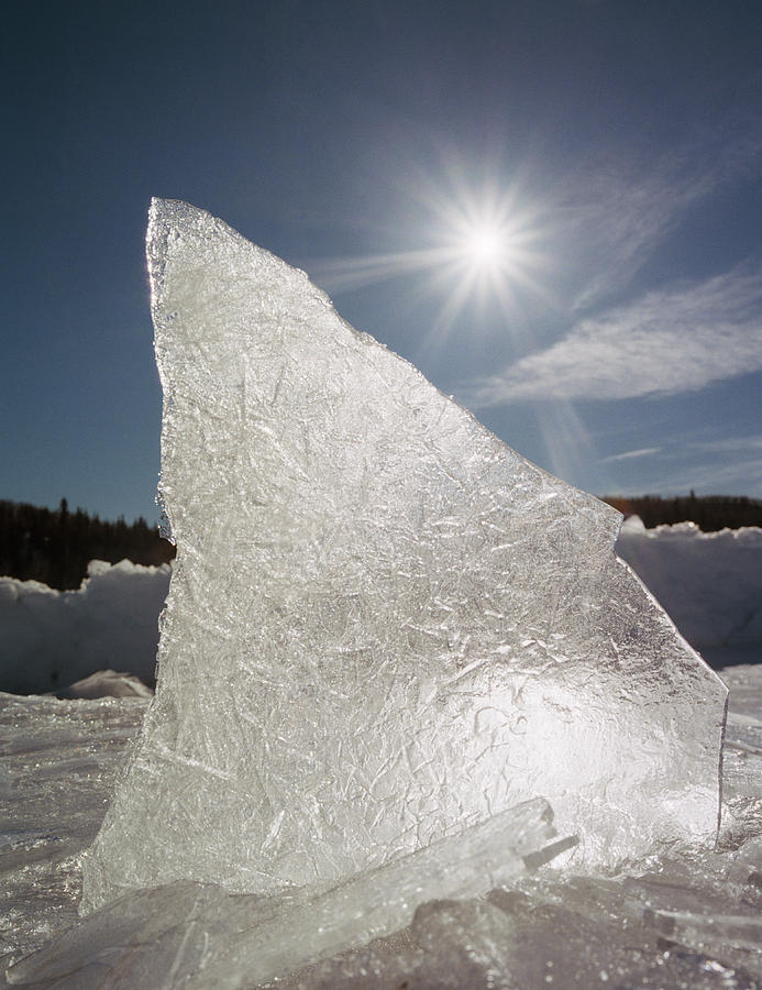 Light Photograph - Ice Formation Along The Bow River by Darwin Wiggett