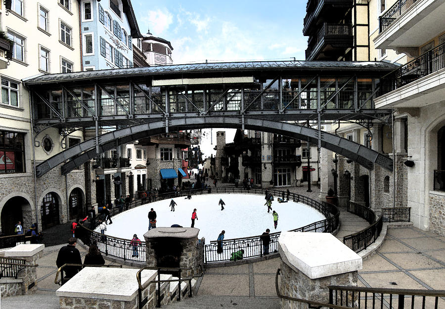 Abstract Digital Art - Ice Skating Rink In Vail Square by Bill Kennedy