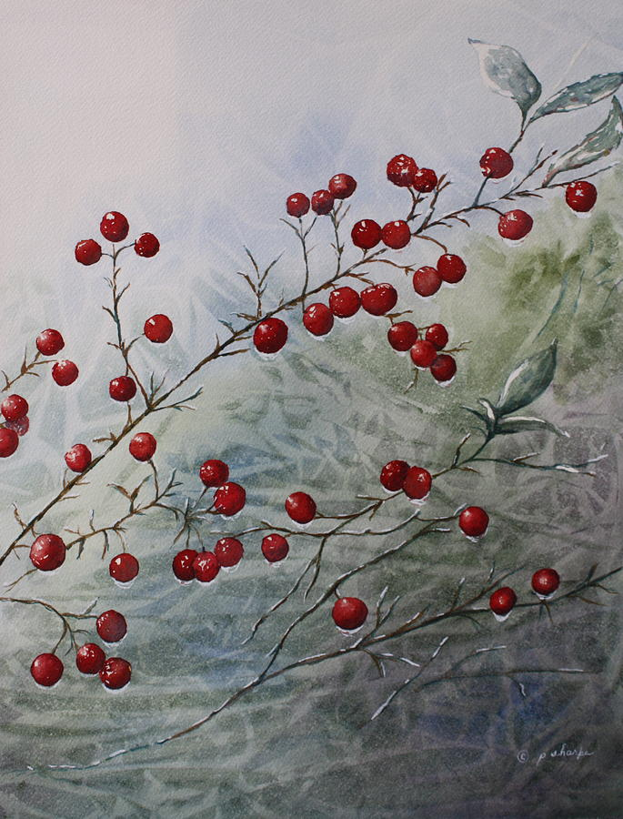 Wintry Painting - Iced Holly by Patsy Sharpe