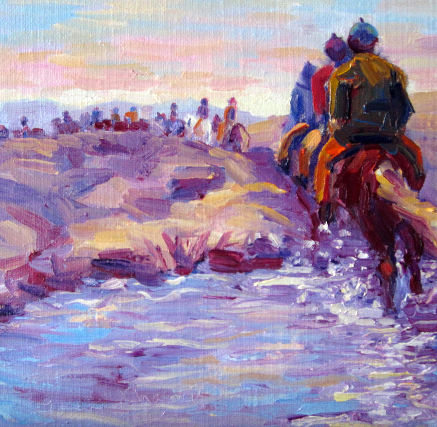 Iceland Painting - Icelandic Horse Trail Ride by Terry  Chacon