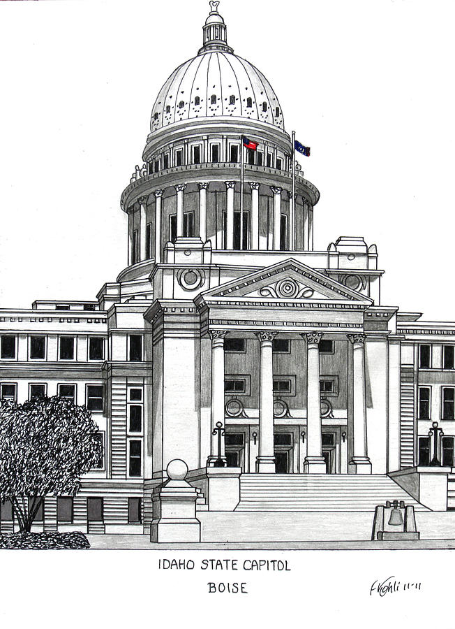 Idaho State Capitol Building Drawing by Frederic Kohli