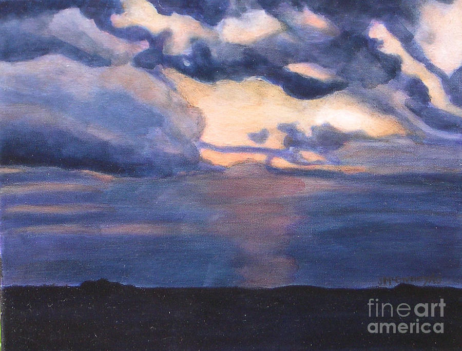 Summer Landscapes Painting - Ilinois Sunset by Joan McGivney