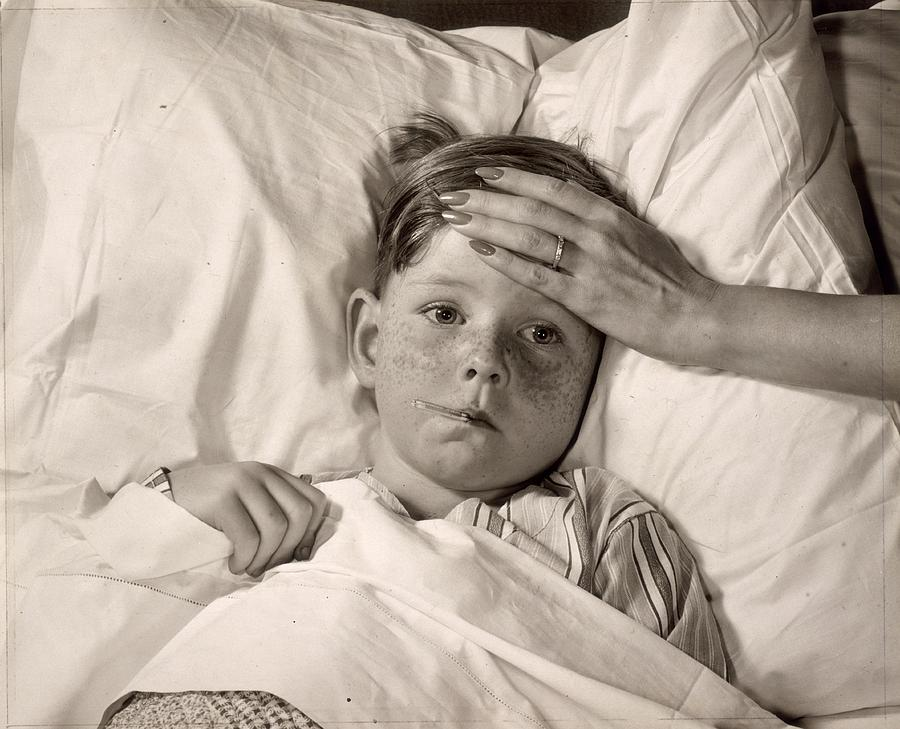 Child Photograph - Ill In Bed by Victor Keppler