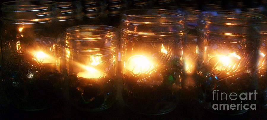 Candles Photograph - Illuminated Mason Jars by Christy Beal