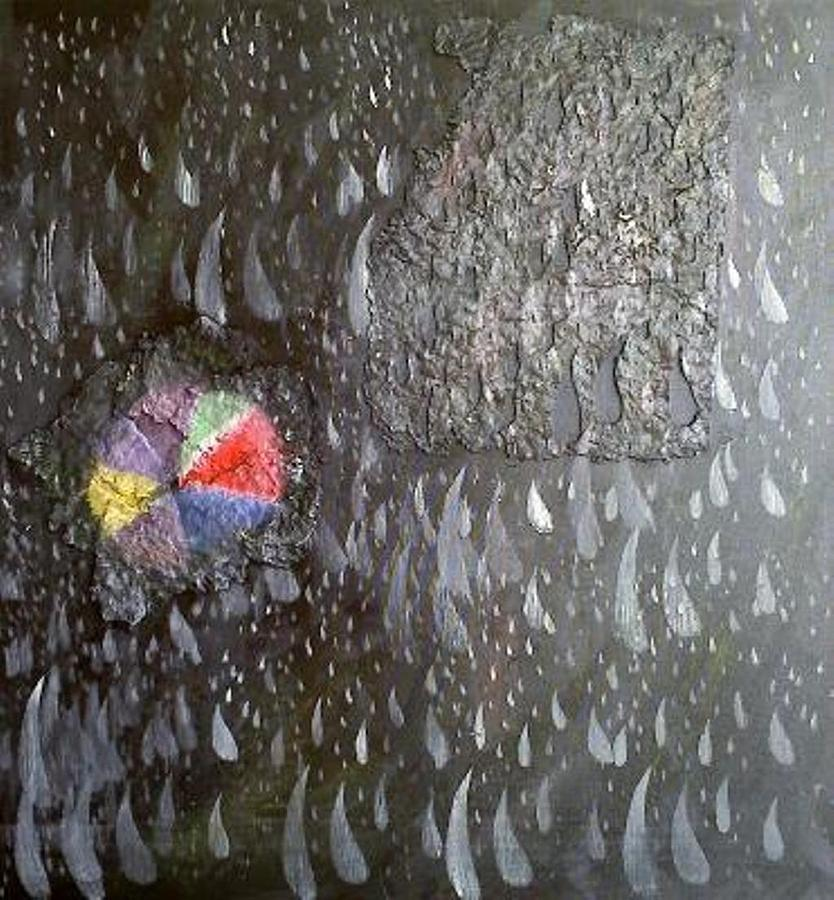 Rain Painting - Illusion Of Black Rain by Leslye Miller