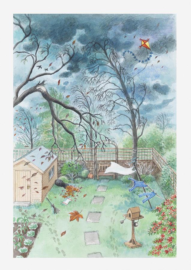 Vertical Digital Art - Illustration Of A Garden During A Storm by Dorling Kindersley