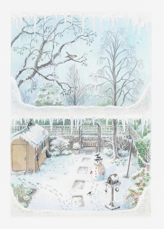 Vertical Digital Art - Illustration Of A Garden In Winter Seen Through A Window by Dorling Kindersley