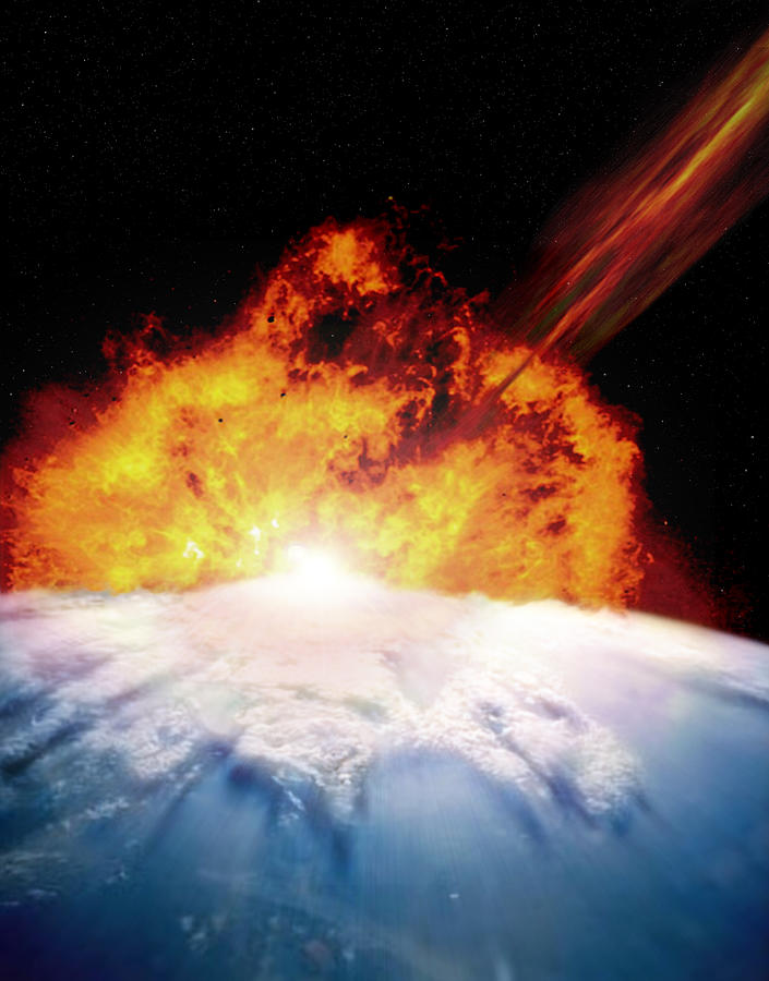 Illustration Of An Asteroid Colliding With Earth Digital Art by Photodisc