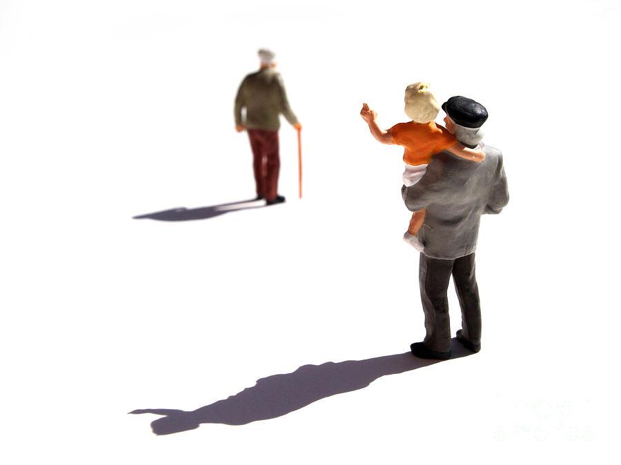 Watching Photograph - Illustration Of Elderlys by Bernard Jaubert