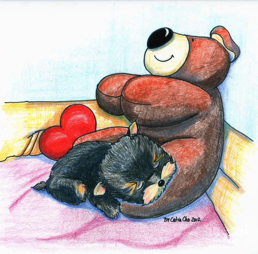 Bear Drawing - Im Glad We Are Friends by Catia Cho