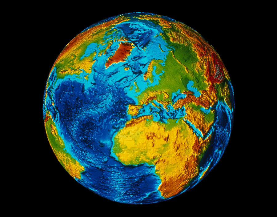 Horizontal Digital Art - Image Of Earth Generated By Computer Graphics by Stocktrek