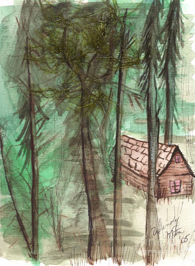 Forest Painting - Imaginary Cabin by Windy Mountain