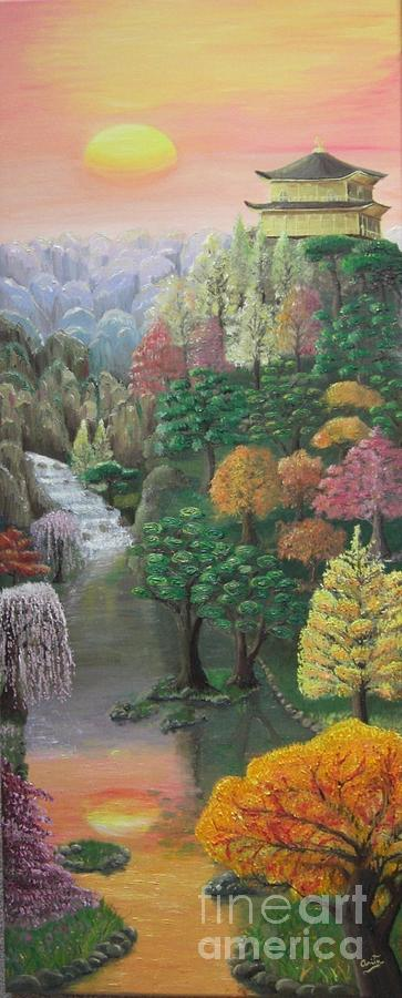 Imagined Autumn In Japan Painting by Ana Maria  Garcia Ruiz