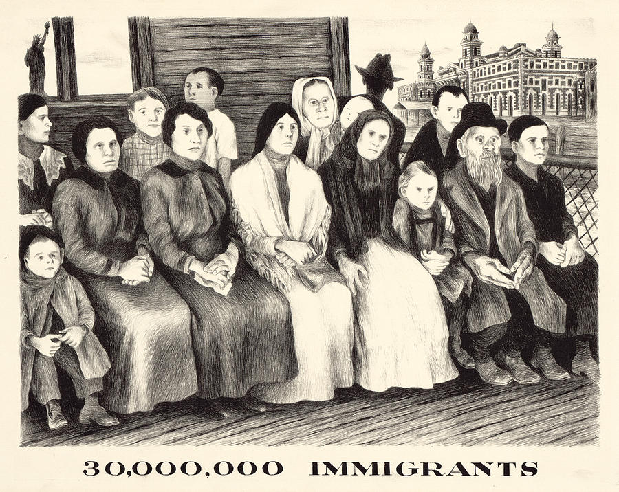 1920s Photograph - Immigrants. Shows A Group Of Immigrants by Everett