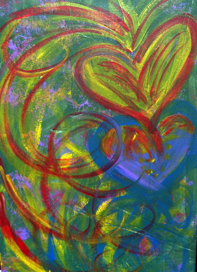 Hearts Painting - Impact Of Love by Bethany Stanko