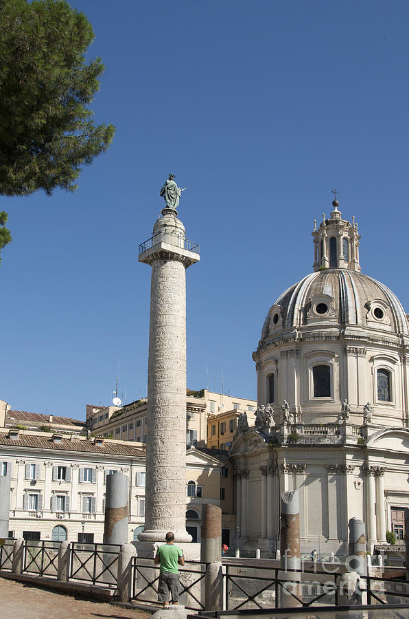 Worth Photograph - Imperial Fora With The Trajans Column And The Church Santissimo Nome Di Maria.  Rome by Bernard Jaubert