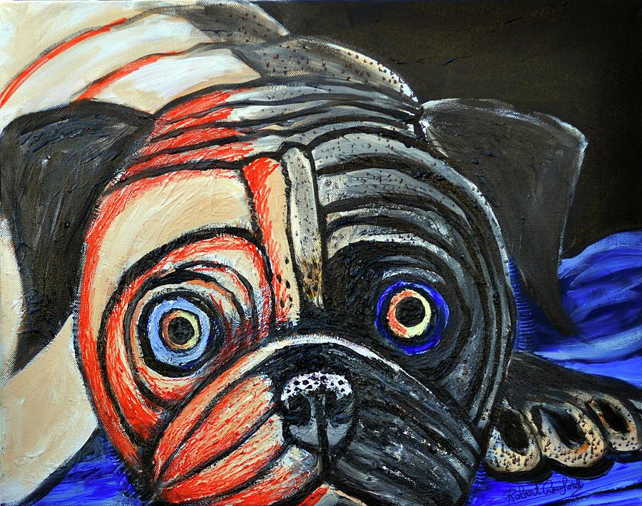 Pug Painting - Impressionestic Pug by Bob Crawford