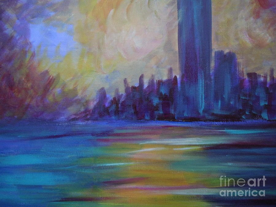 Landscape Painting - Impressionism-city And Sea by Soho