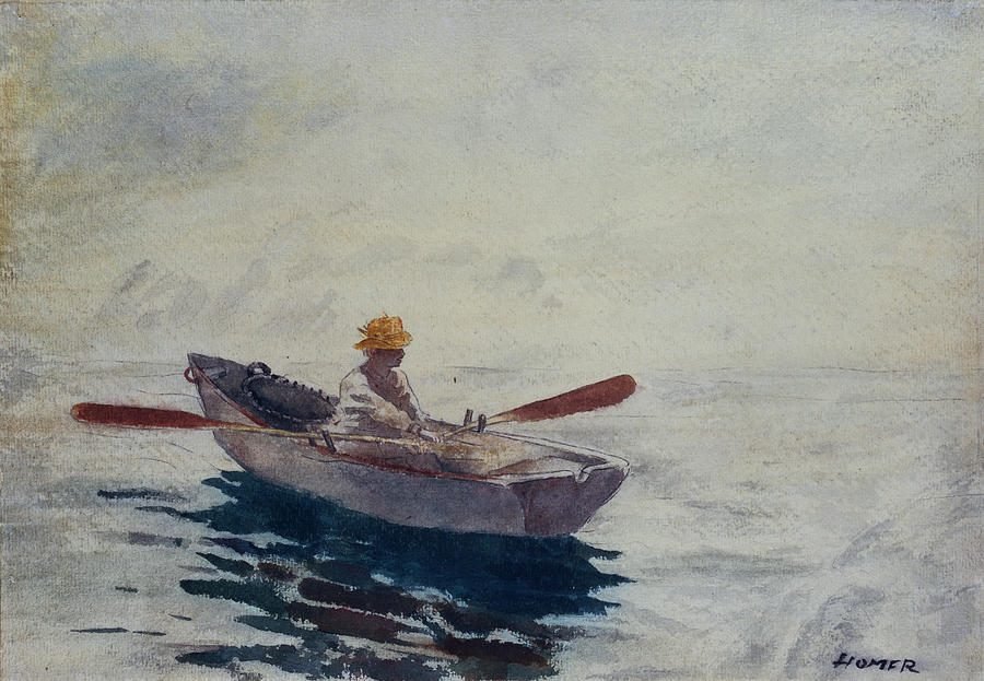 Watercolor Painting - In A Boat by Winslow Homer