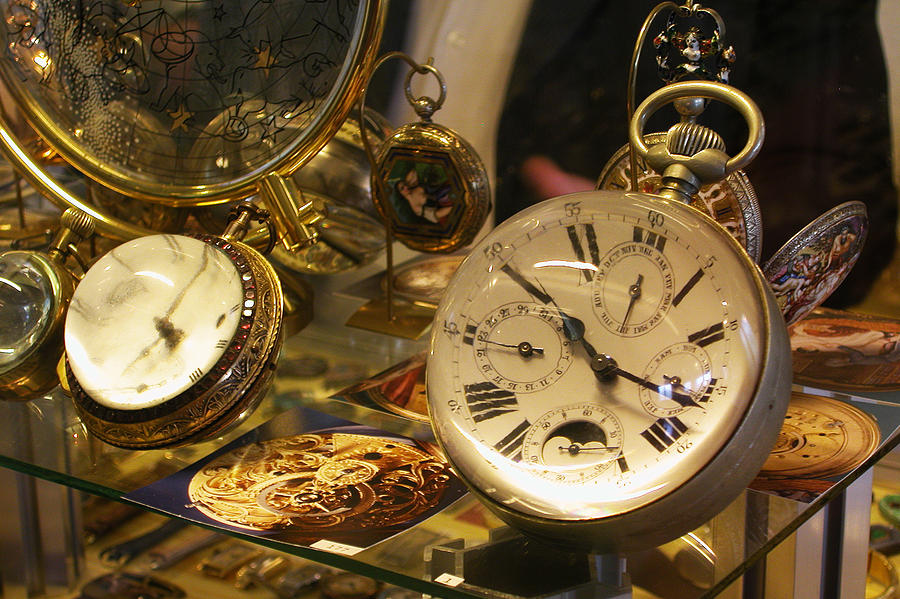 Clocks Photograph - In A Watch Museum by Carl Purcell
