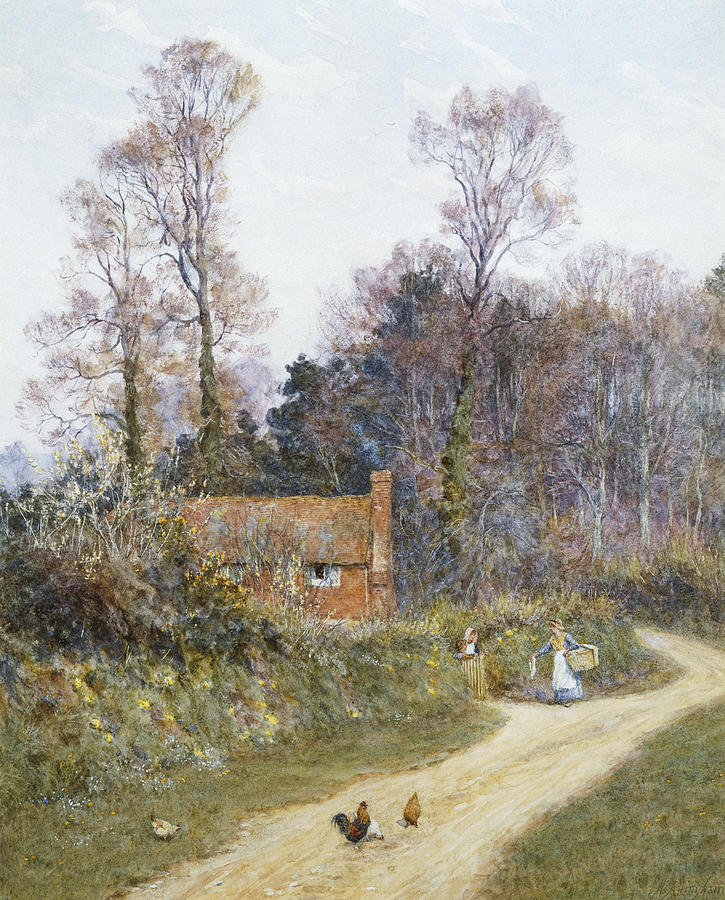 English; Landscape; C19th; C20th; Victorian; Country; Road; Cottage; Female; Women; Gossiping; Chickens Painting - In A Witley Lane by Helen Allingham