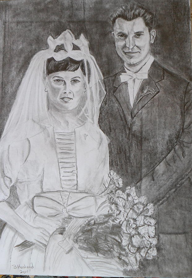 Portrait Drawing - In-laws Wedding Day 1961 by Brian Hustead
