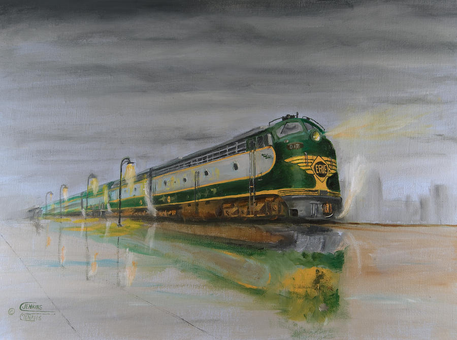 Railroad Painting - In The Cold Mist by Christopher Jenkins
