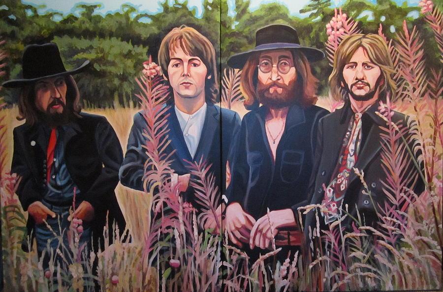 Beatles Painting - In The Field The Beatles by Sandra Ragan