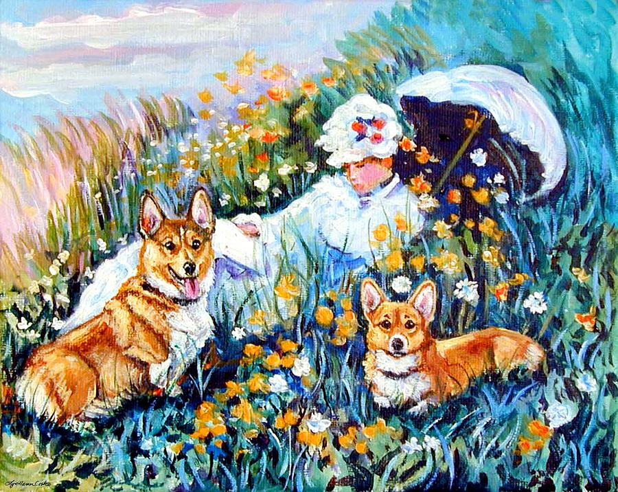 Pembroke Welsh Corgi Painting - In The Field With Corgis After Monet by Lyn Cook