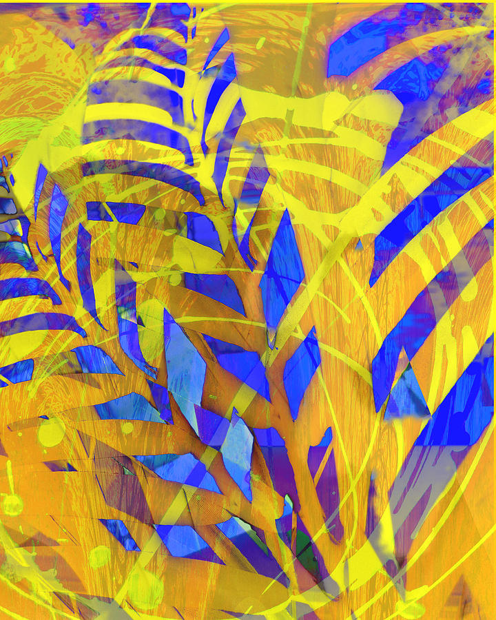Blue And Yellow Mixed Media - In The Garden by Ann Powell