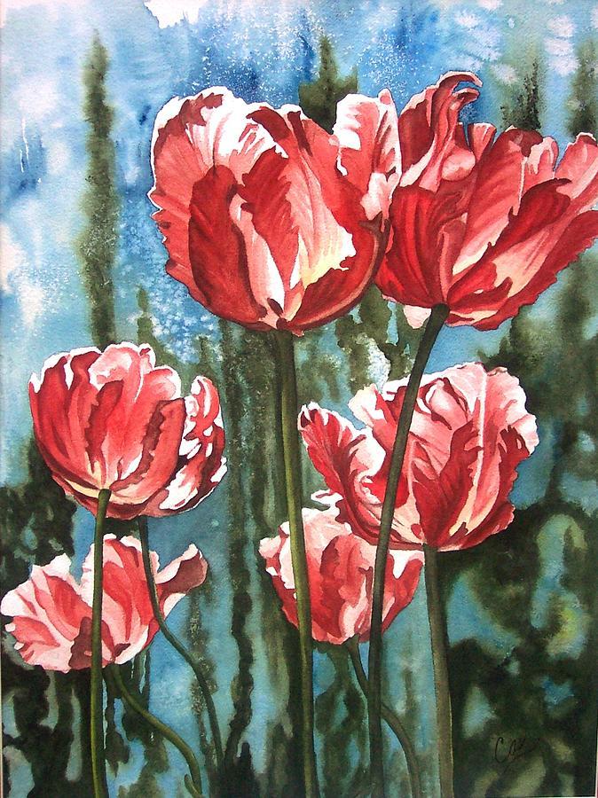 Tulips Painting - In The Garden by Karen Casciani