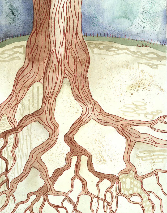 Tree Painting - In The Ground Beneath by Annette Janelle Provenzo