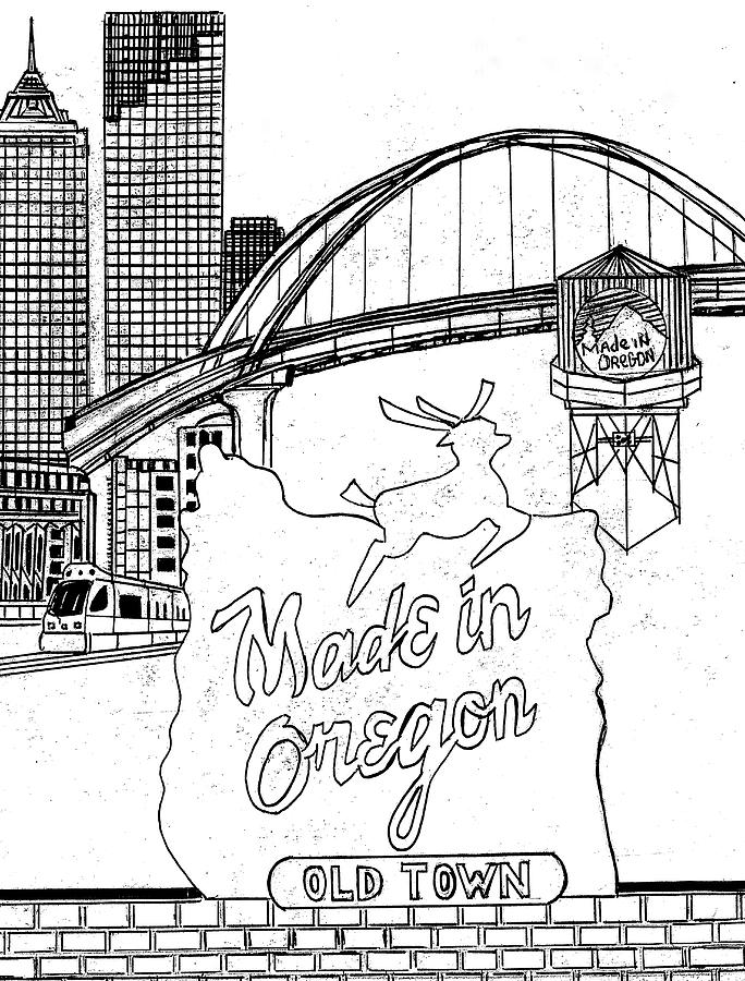 Oregon Drawing - In the Heart of Portland by Harry Richards