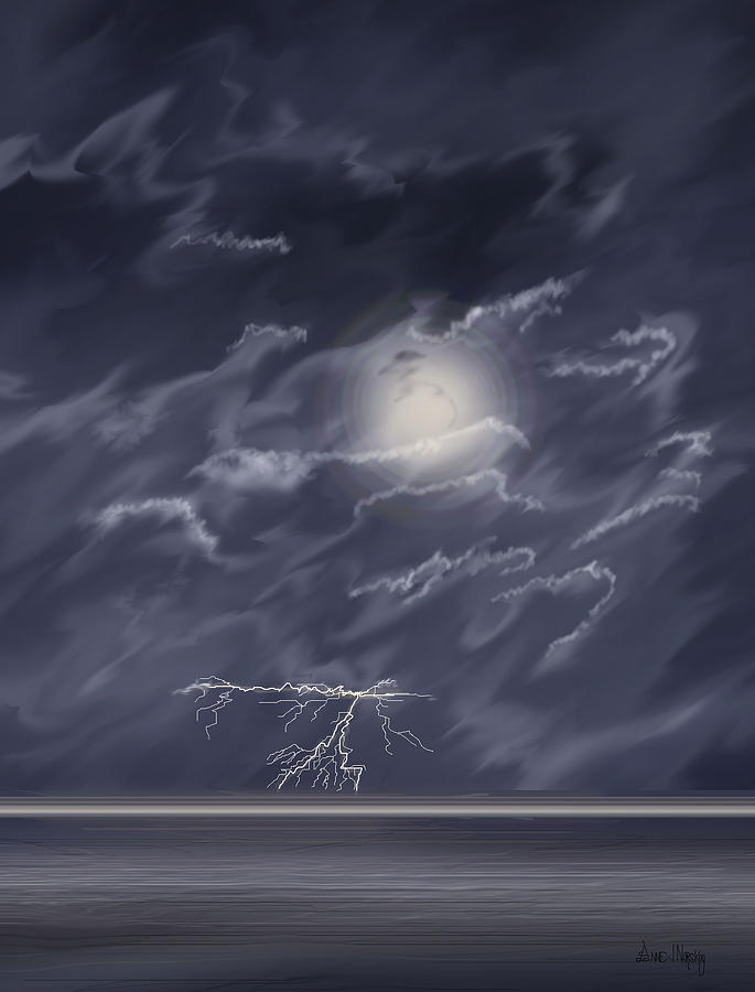 Lightning Storm Digital Art - In the Heat of the Night by Anne V Norskog