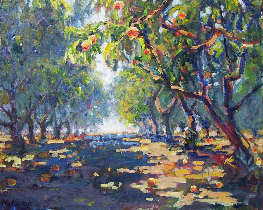 Peach Painting - In The Peach Orchard by Margaret  Plumb