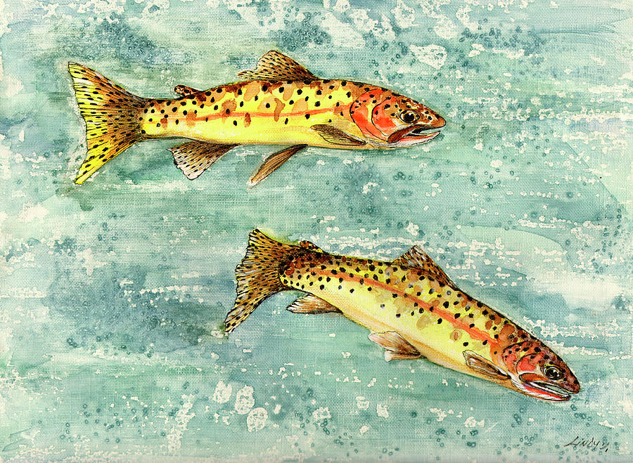 Fish Painting - In The Swim by Linda Palmer