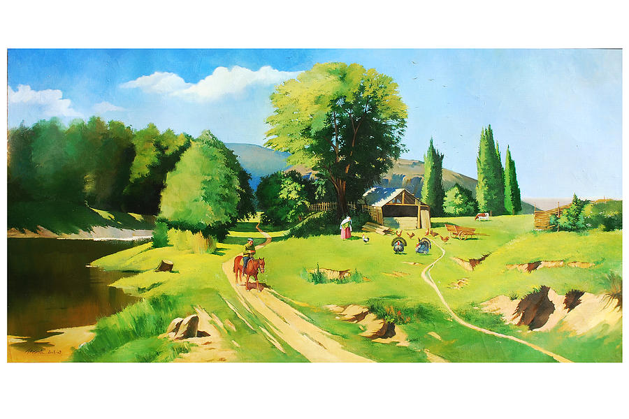 Landscape Painting - In Village by Tural Hasanli