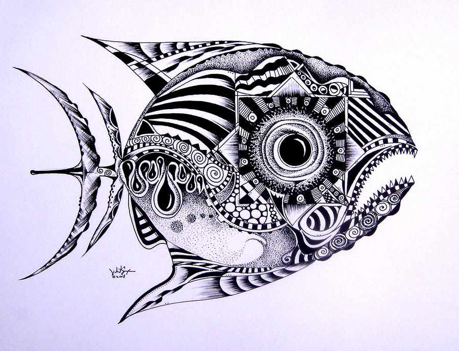 Fish Painting - Incomplete Anger by J Vincent Scarpace