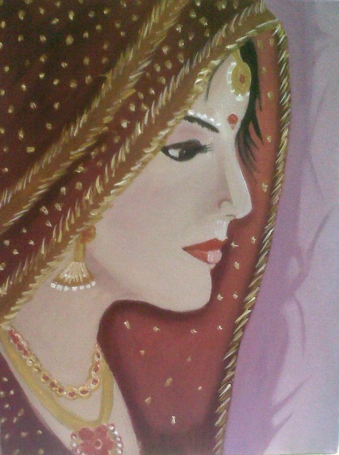 Bride Painting - Indian Bride by Divya Garapati
